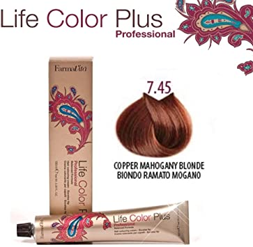 FarmaVita Life Color Plus, Tinte 7.45 Rubio Cobre Caoba - 60 ml (8022033007773)
