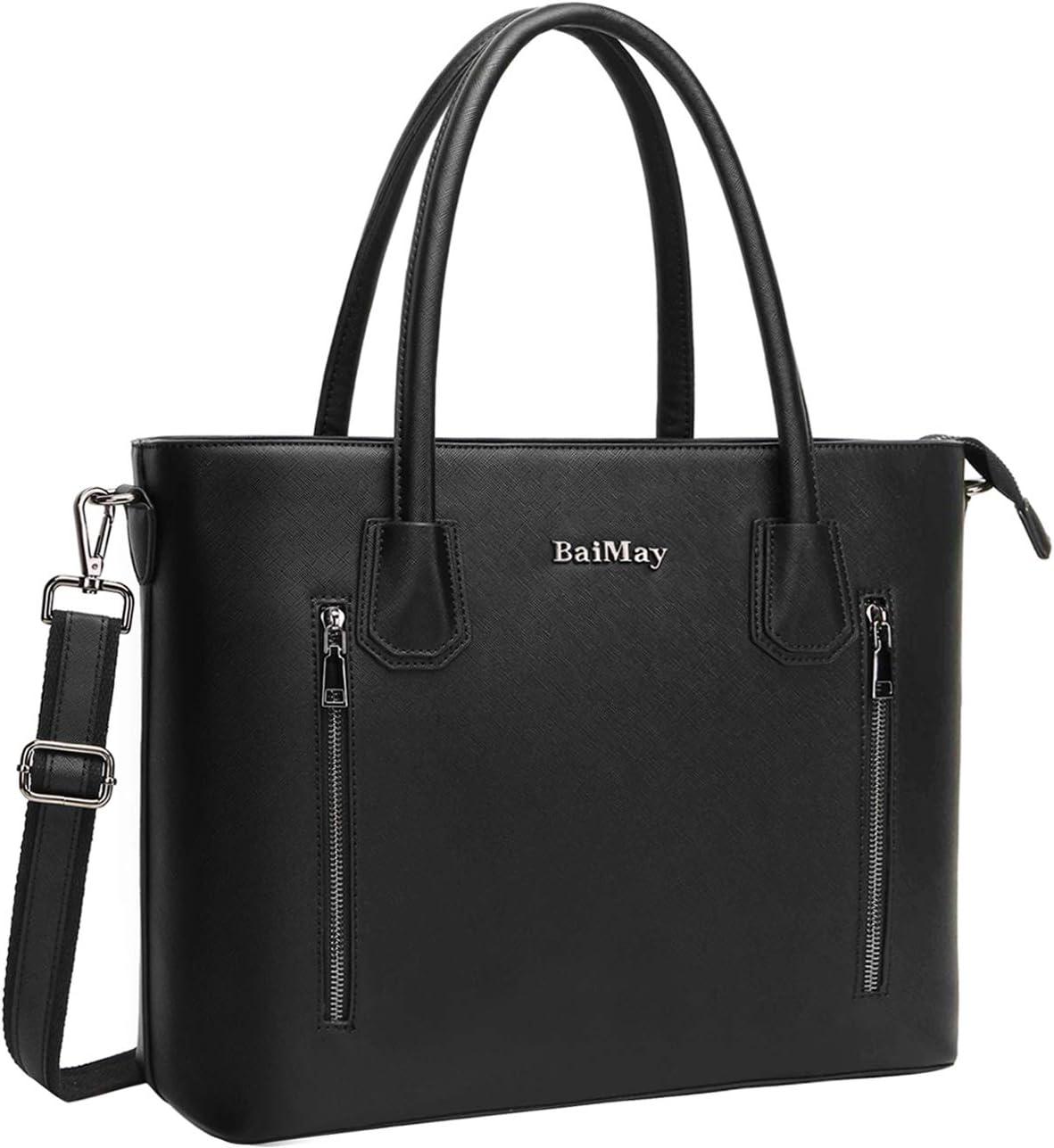 Laptop Bag for Women,15.6-17 Inch Laptop Tote Roomy Work Bag-Black 17in
