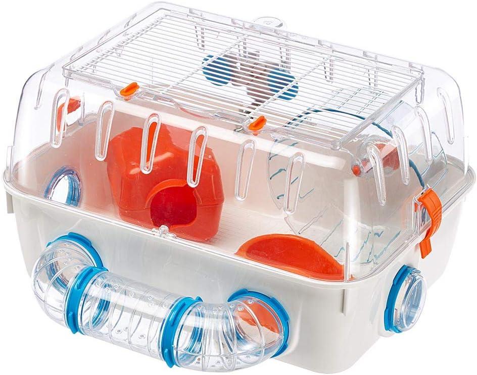 Ferplast Jaula para hámsteres Combi 1, para pequeños roedores, Plástico Robusto, Techo con Rejilla abrible, Tubos y Accesorios incluidos, 40,5 x 29,5 x h 22,5 cm Blanco