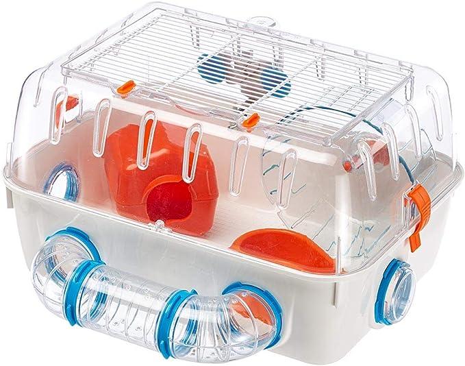 Feplast Jaula para hámsteres Combi 1, para pequeños roedores, Plástico Robusto, Techo con Rejilla abrible, Tubos y Accesorios incluidos, 40,5 x 29,5 x h 22,5 cm Blanco/Multicolor (57923499)