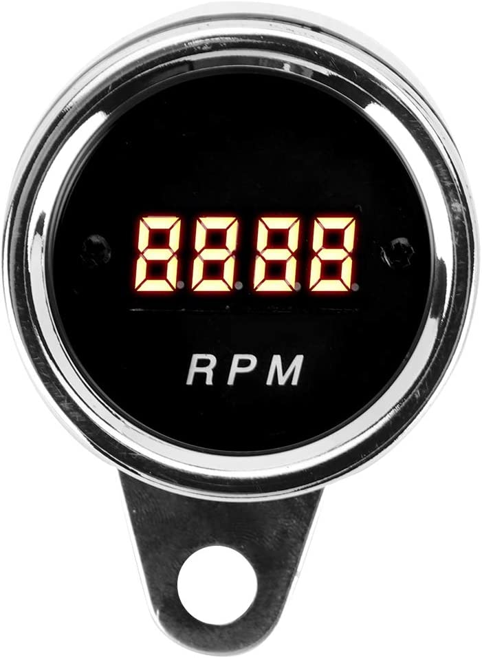 Gorgeri Motorcycle Tachometer Gauge,1 Cylinder 2 Cylinder Motorcycle Digital Tachometer LED Tacho RPM Gauge Stainless Steel Case