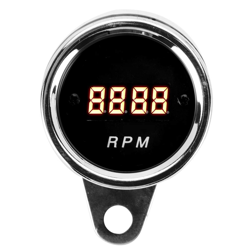 Gorgeri Motorcycle Tachometer Gauge,1 Cylinder / 2 Cylinder Motorcycle Digital Tachometer LED Tacho RPM Gauge Stainless Steel Case by Gorgeri