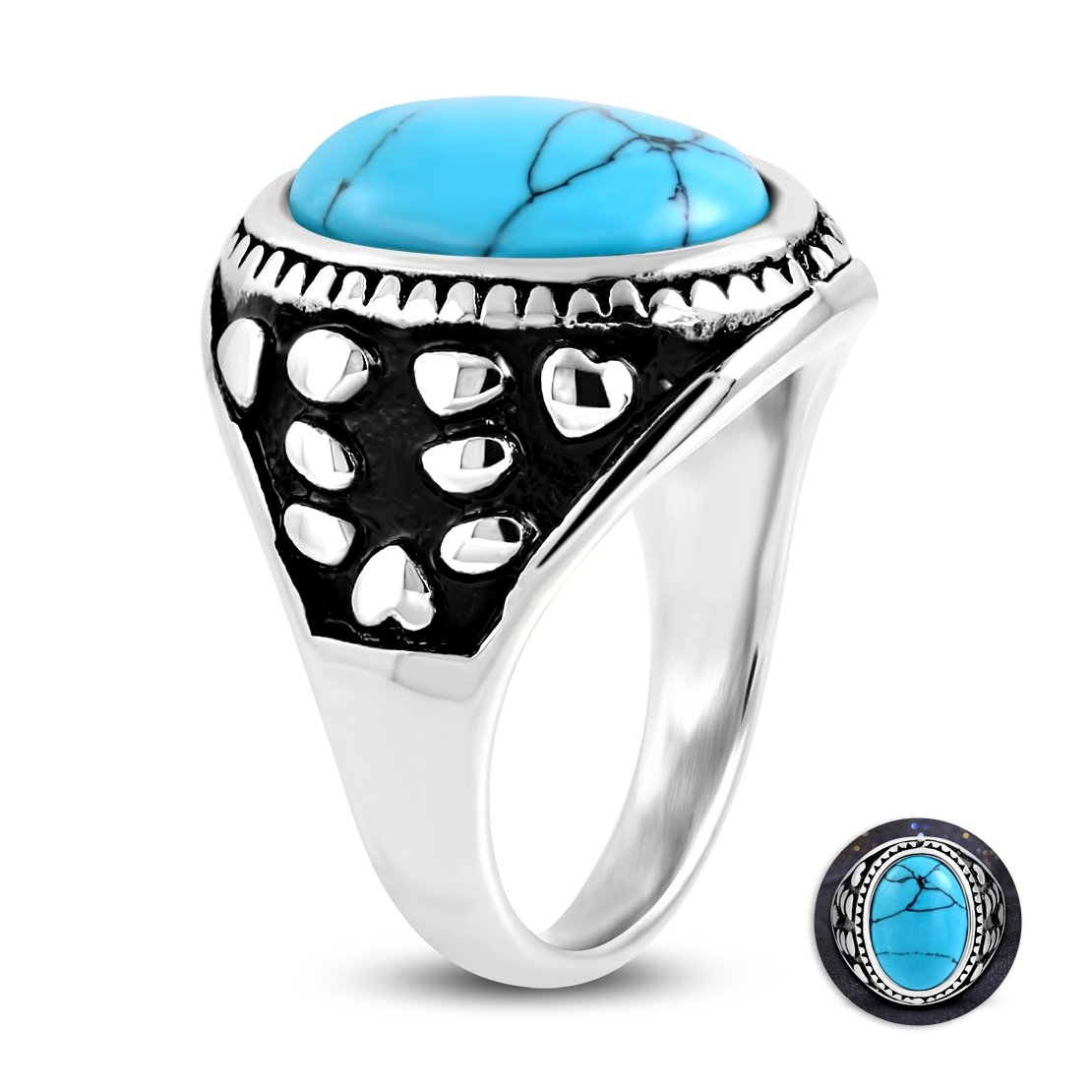 NRG Rings Stainless Steel 2 Color Bezel-Set Oval Cocktail Ring with Turquoise Stone