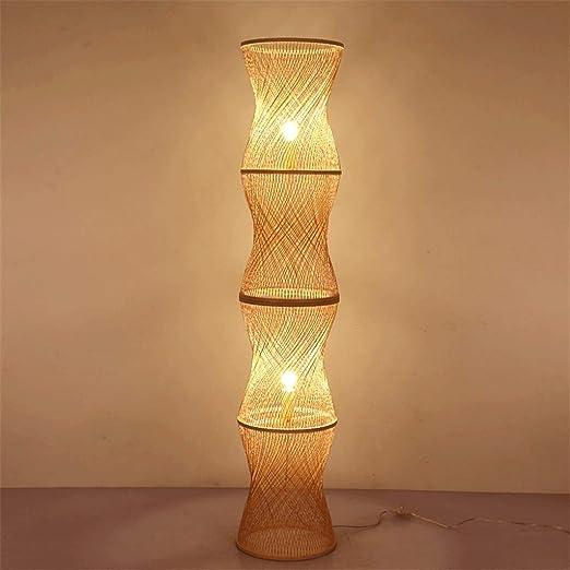 YZPLDD LED de bambú de Mimbre Rattan Sombra Vaso de Piso rústico ...