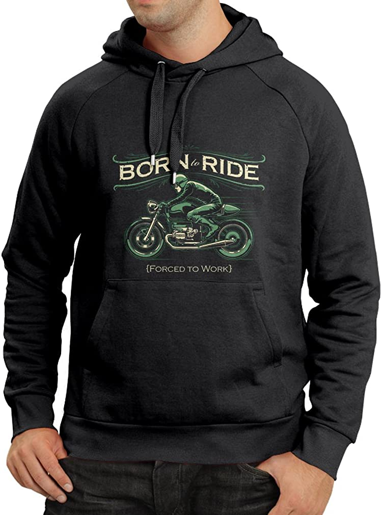 lepni.me Unisex Hoodie Born to Ride Saying Shirts for Motorcyclists Forced to Work Rider Biker