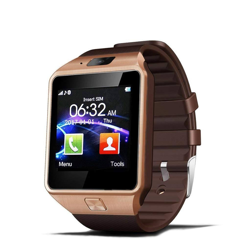 Aipker Smart Watches with SIM Card Slot Bluetooth Notification (DZ09 Gold)