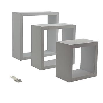 Harbour Housewares Weißes Quadrat Schwebendes Regal 3 Verschiedene