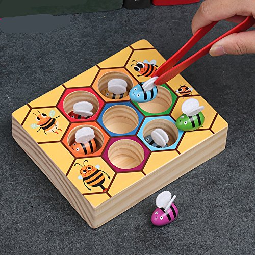 Moonio Wooden Lovely Bee Picking Toy Catching Practices for Baby Early Educational Toddler Montessori Game Colorful Beehive Box by Moonio