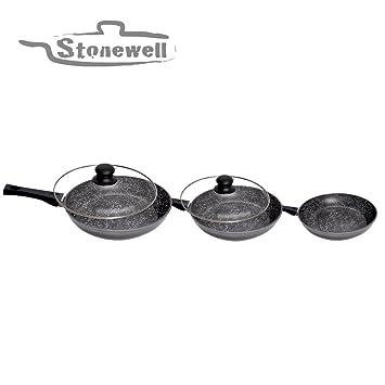 Stonewell - Juego de sartenes (piedra, 28, 24 y 20 cm, incluye 2 tapas de cristal): Amazon.es: Hogar