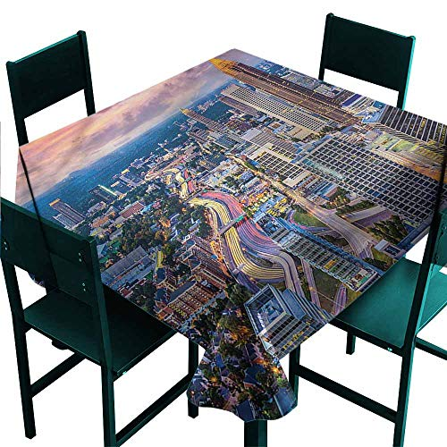 DONEECKL Waterproof Tablecloth Modern Atlanta City Georgia Town Party W70 xL70 -