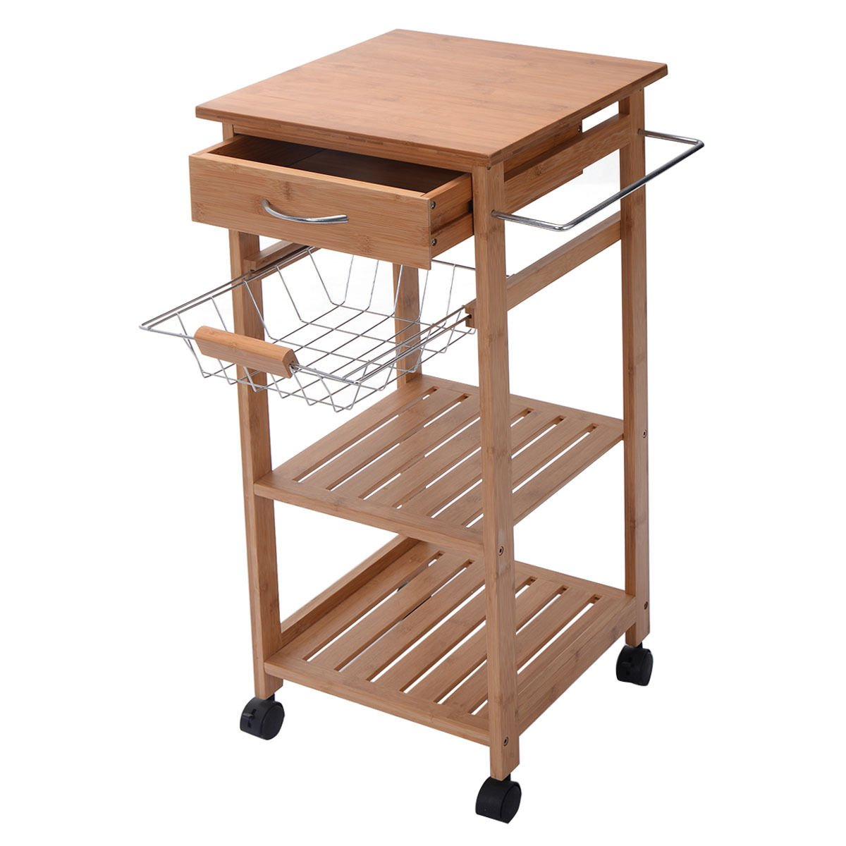 Eight24hours Rolling Bamboo Kitchen Trolley Cart Storage Shelf Island w- Drawer Baskets New