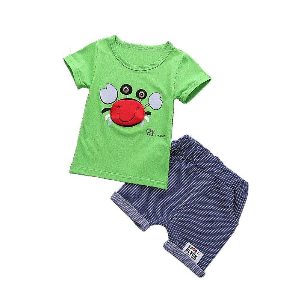 JIANLANPTT Cute Toddler Boys Summer Outfits Short Sleeve T-Shirt Shorts Sets