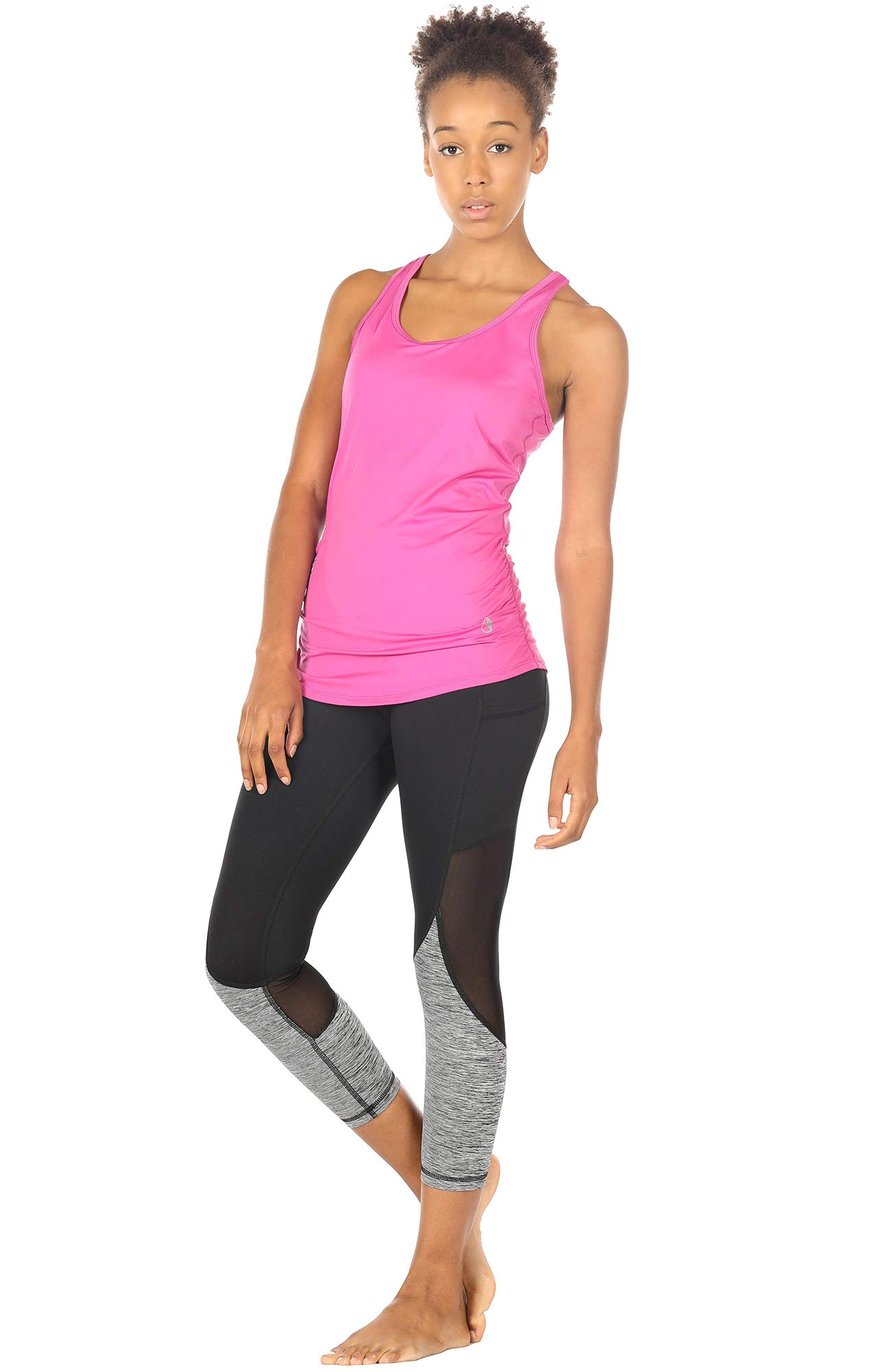 icyzone Women\'s Yoga shirts Sports Tops Super Soft Knit Cowl Back Tank (M, Rose Violet)