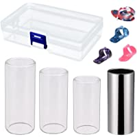 SODIAL Guitar Slides Set Includes 3 Size Glass Slide, 1 Piece Stainless Steel Slide and 4 Pieces Plastic Thumb & Finger Picks with Plastic Box