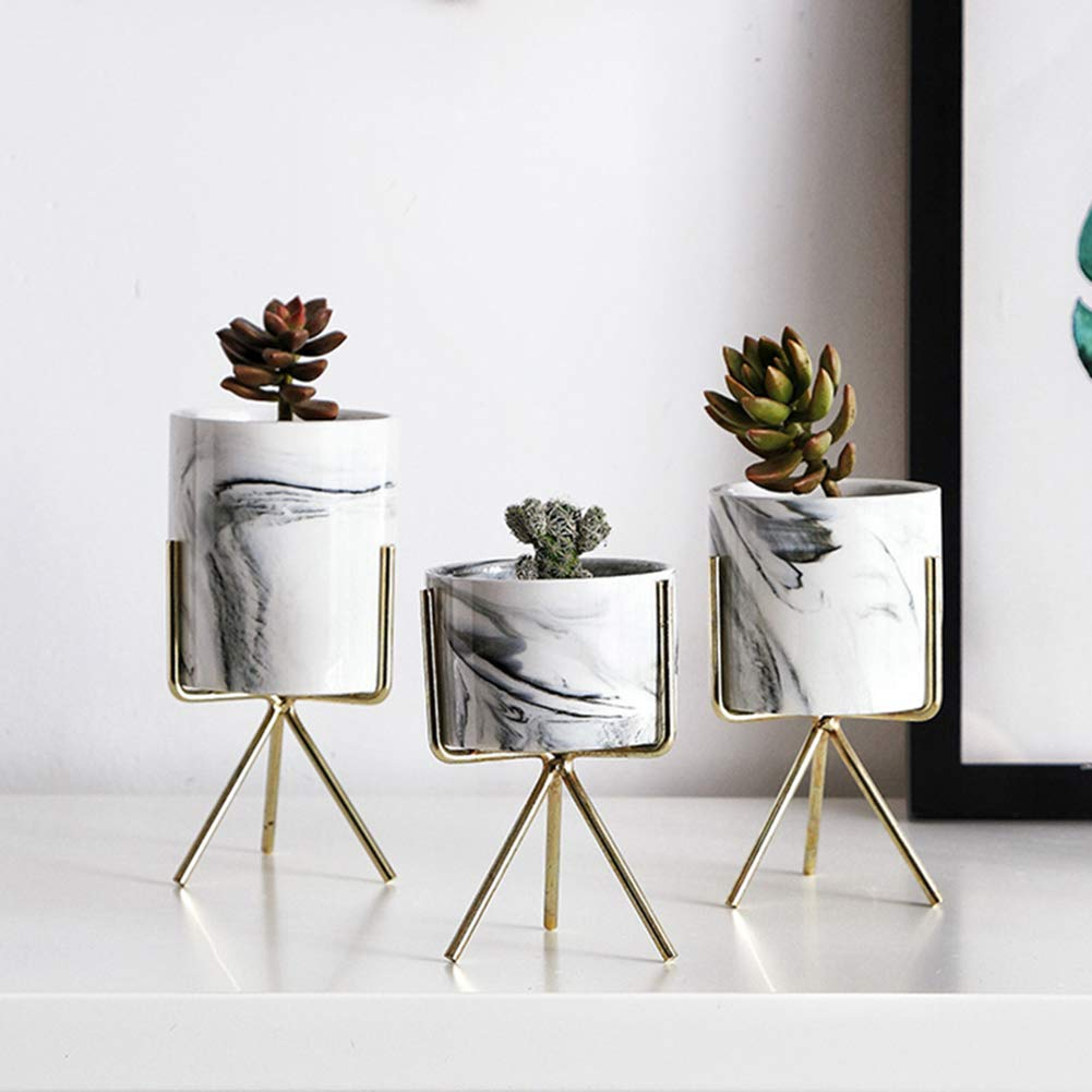 Homeofying Nordic Small Mini Office Desktop Table Home Wedding Decoration Marble Pattern Art Plants Flower Pot Container Planter Black S