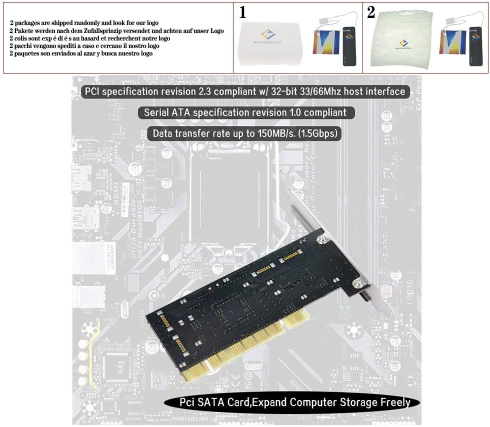 huicouldtool PCI Expand Card 4 Port SATA add on Card with SIL 3114 Chipset Compliant with PCI Specification Revision 2.2 for Desktop//Computer