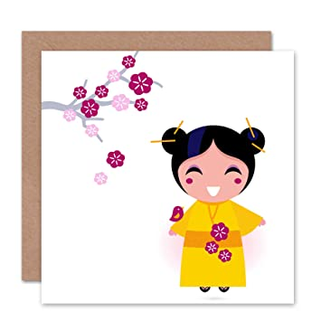 Wee Blue Coo JAPANESE GEISHA CHERRY BLOSSOM KIMONO BLANK GREETINGS BIRTHDAY CARD ART