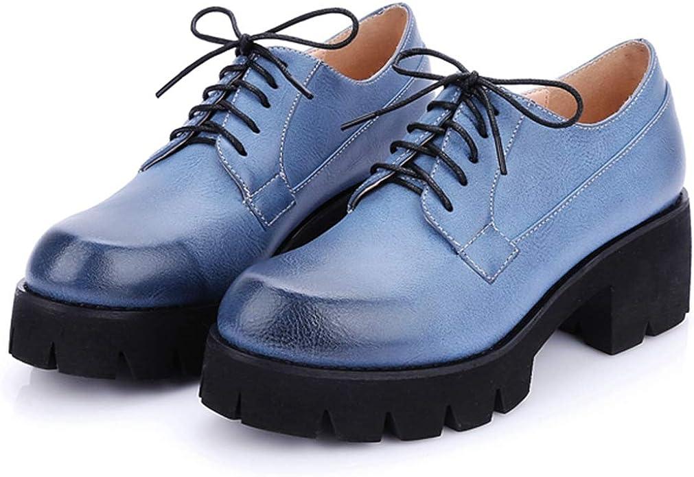 Amazon.com: VOMIRA Women's Classic Mid-Heel Round-Toe Lace-up Shoes Oxfords  Shoes Platform Uniform-Dress-Shoes: Shoes