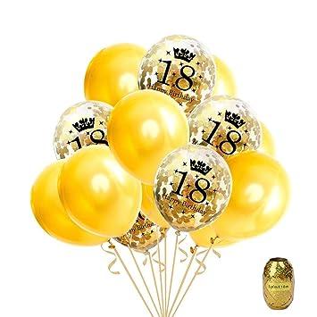Faylapa 16 Piezas Globo de Oro de la Fiesta de cumpleaños 18, Globos de Confeti Globo de látex Impreso con Feliz cumpleaños y número de 18,12 ...