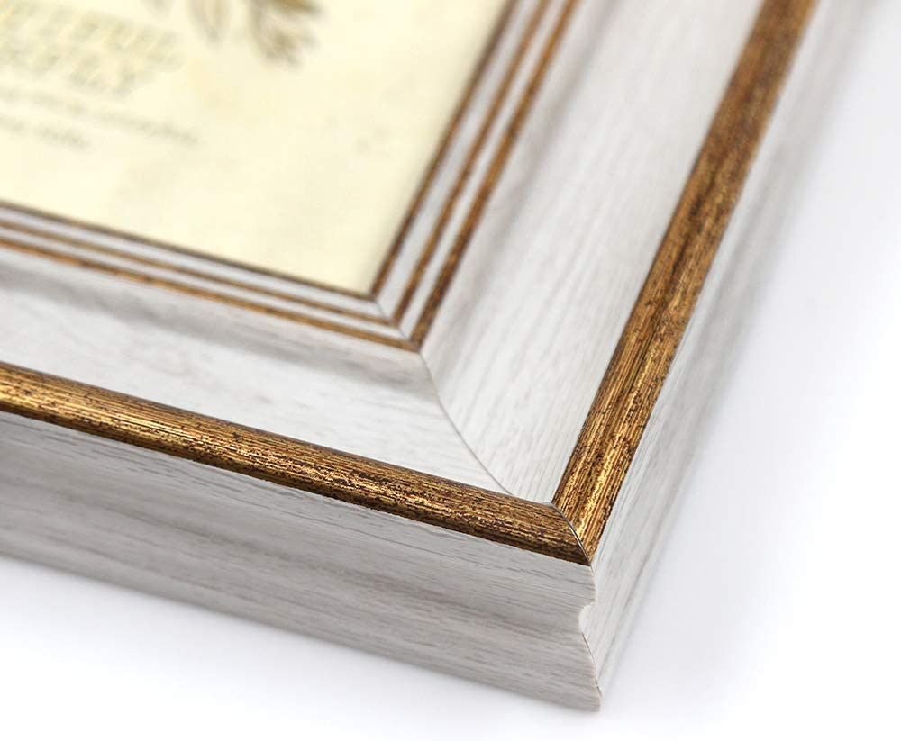 Afuly Vintage Picture Frame 4x6 Gold and Off White for Tabletop Display Wall Hanging Antique Distressed Unique Gifts for Grandma -