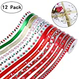 """Arts & Crafts : 60yd (12x5yd) 7/16"""" Grosgrain Satin Fabric Ribbon Set, Christmas Wrapping Ribbon for Gift Wrapping, Hair Bows Making, Baby Shower Craft Sewing, Birthday Party or Wedding Decorations"""