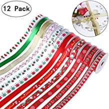 """Unomor 60yd (12x5yd) 7/16"""" Grosgrain Satin Fabric Ribbon Set, Christmas Wrapping Ribbon for Gift Wrapping, Hair Bows Making, Baby Shower Craft Sewing, Birthday Party or Wedding Decorations"""