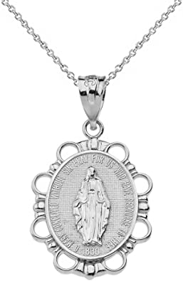 14k Solid White Gold Virgin Mary Necklace 16 18 20