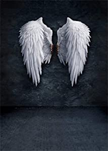 AOFOTO 5x7ft Angel Wings Backdrop Grunge Wall Photography Background Fashion Youngster Kid Girl Boy Adult Artistic Portrait Photo Shoot Studio Props Video Drop Wallpaper Drape