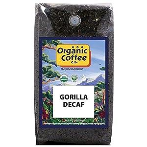 The Organic Coffee Co. Gorilla Decaf Whole Bean Coffee 2LB (32 Ounce) Medium Light Roast Natural Water Processed USDA Organic
