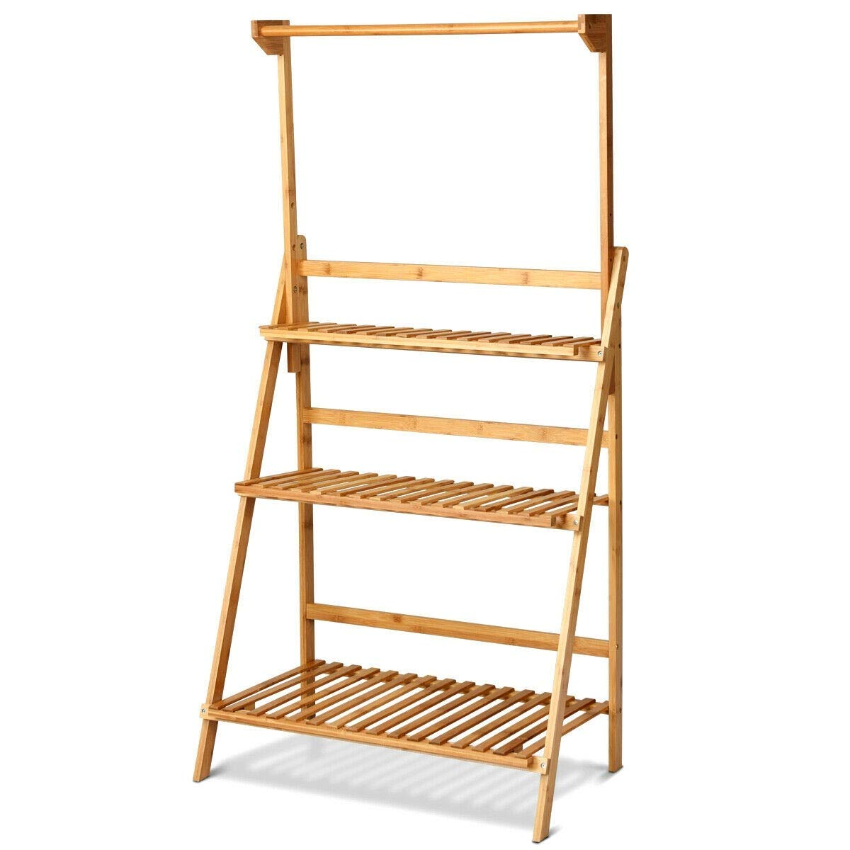 EnjoyShop 3 Tiers Bamboo Hanging Folding Plant Shelf Stand Adjustable and Foldable Design Indoors and Outdoors Use