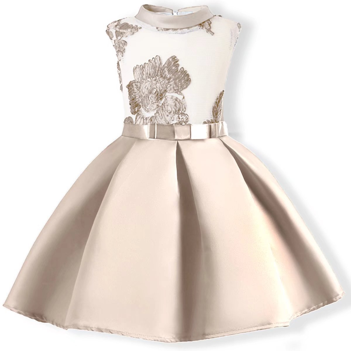 AYOMIS Baby Girl Dress Party Wedding Flower Dresses Sleeve Gowns(Apricot,8-9Y)