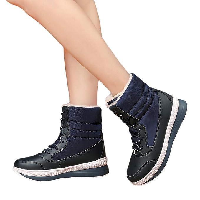 Viernes Negro JiaMeng Zapatos Botas de Trabajo Botas de Nieve Mujer Invierno Mantén Tus Zapatos Calientes Botas de Plataforma a Media Pierna: Amazon.es: ...