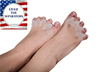 Yoga Gel Toe Separators to Correct Bunions, Hammer Overlapping Toes, Silicone Stretcher for...