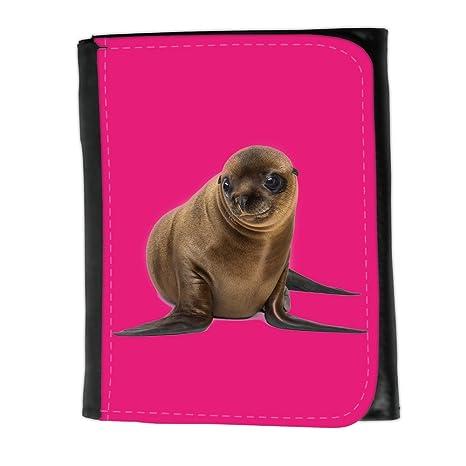Cartera para hombre // Q05740616 León marino lindo Rosa brillante // Small Size Wallet