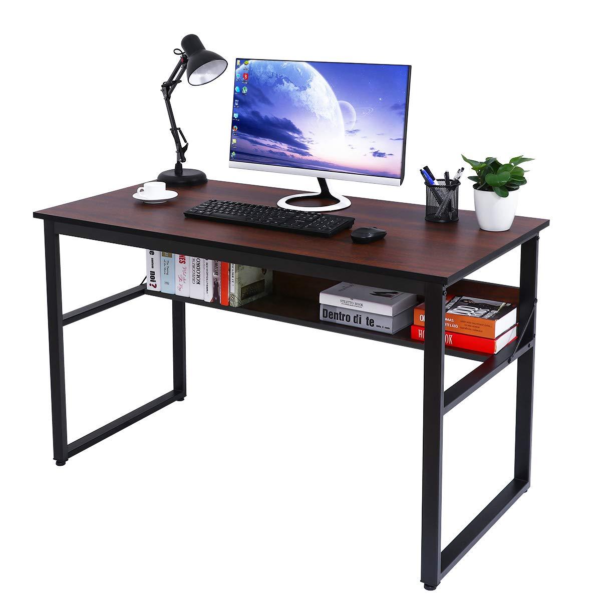 Astonishing Details About Homemaxs Computer Desk With Bookshelf 47X23 Large Office Desk Workstation Home Interior And Landscaping Ferensignezvosmurscom