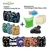 Babygoal Baby Adjustable Reuseable Pocket Cloth Diaper Nappy 12pcs + 12pcs 5-layer Charcoal Bamboo Reusable Inserts 12FB50-3