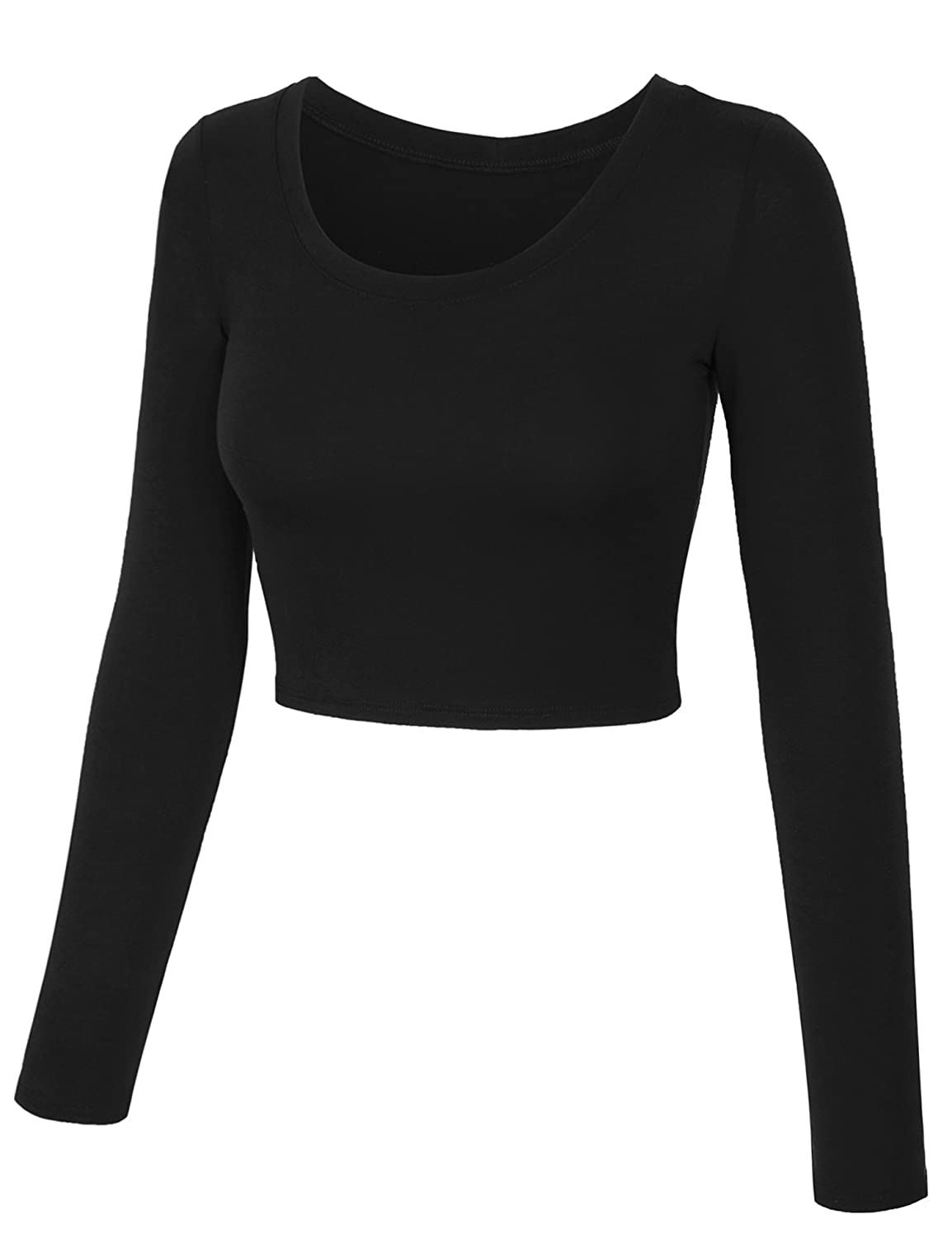 ff72c19f060 KOGMO Womens Long Sleeve Basic Crop Top Round Neck with Stretch at Amazon  Women's Clothing store: