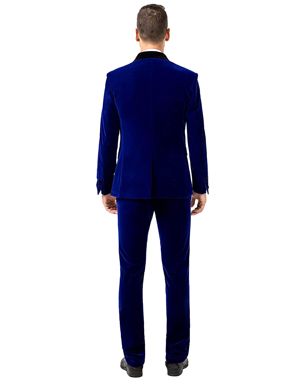 Jingmo Burgundy Royal Blue Black Velvet 3 Piece Suits for Men Classic Tuxedo Blazer Vest Pants