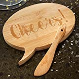Kate Aspen Speech Bubble ''Cheers'' Bamboo Cheese Board and Spreader (Set of 12)