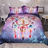 Sleepwish 3 Piece Galaxy Bedding Set Purple Outer Space Duvet Cover Super Soft Feather Wings Kids Bedding for Boys Girls Teens (Full)