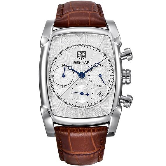 benyar impermeable cronógrafo clásico Rectángulo Caso relojes correa de piel Business reloj de pulsera para hombres: Amazon.es: Relojes