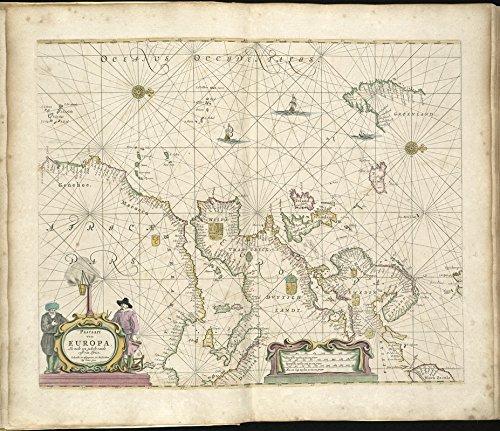 Historic Map   1672 Pascaart van Europa, als mede een gedeelt vande cust van Africa   Antique Vintage Reproduction