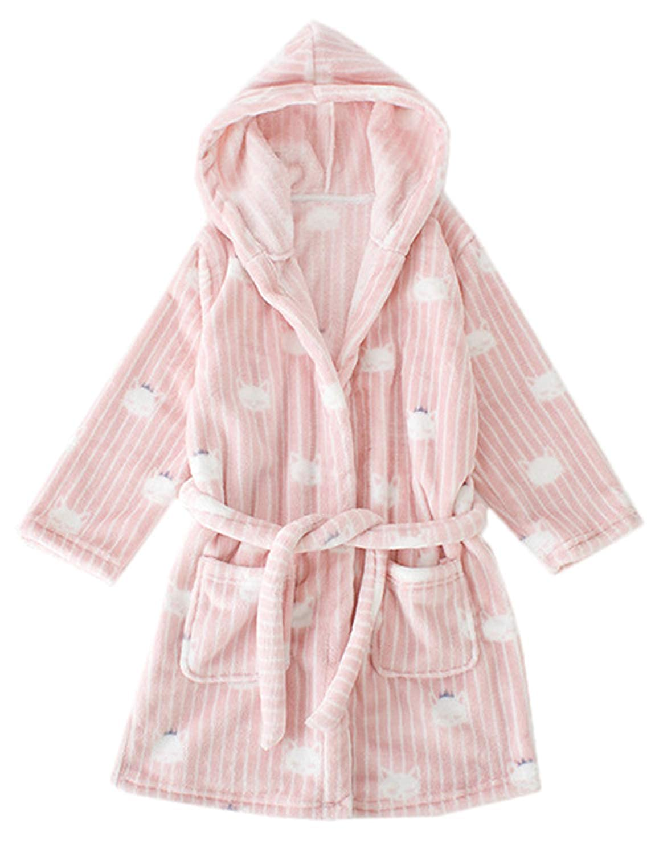 Kids Winter Plush Hooded Robe Soft Fleece Bathrobe for Girls and Boys
