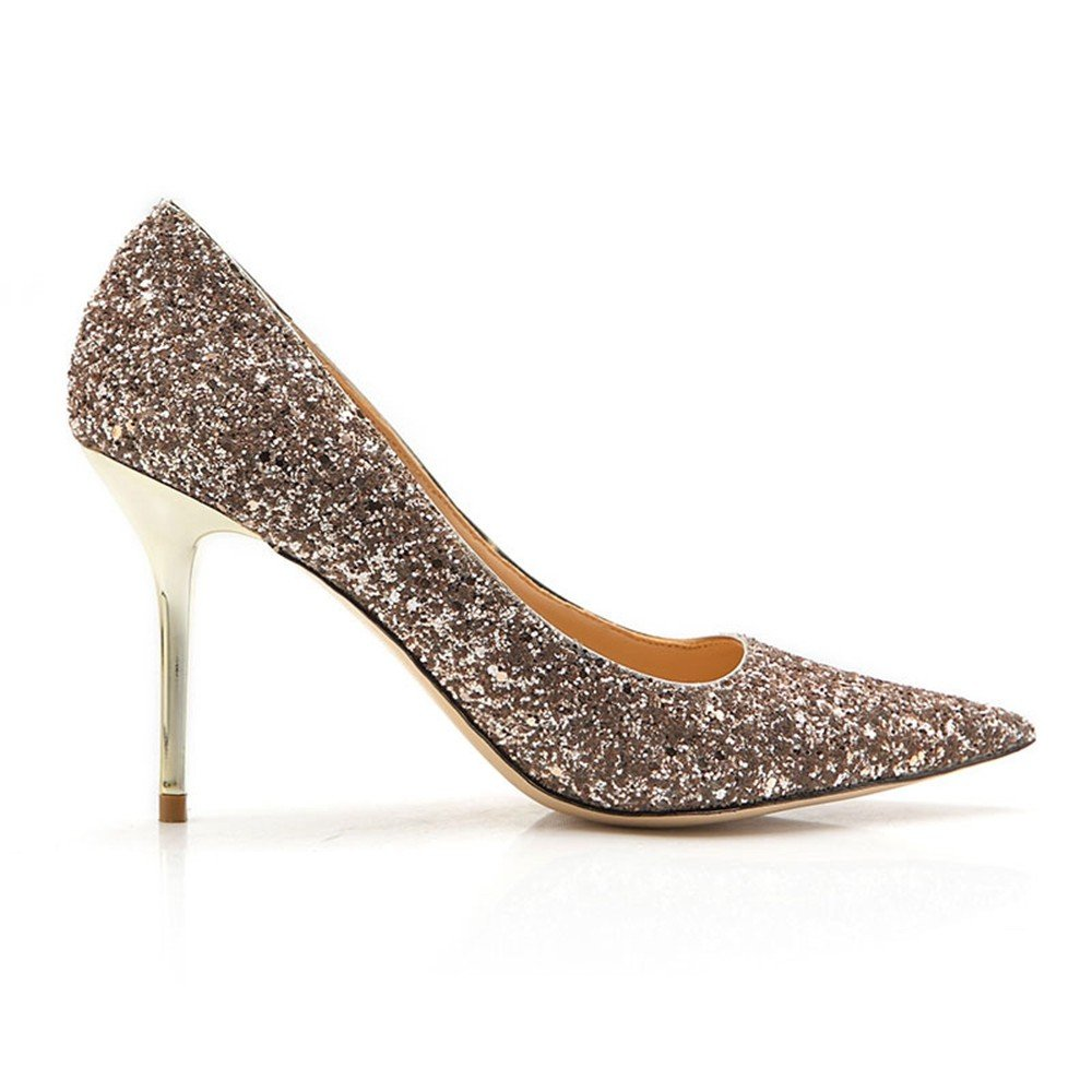 ZHANGYUSEN 2018 Das Neue Silber High-Heeled Schuhe Fein mit der Frauen Hingewiesen Pailletten Goldene Hochzeit Schuhe Schuhe Schuhe.