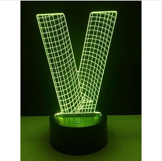 Iluminación 3D Alfabeto Letra V Victoria Mesa De Escritorio ...