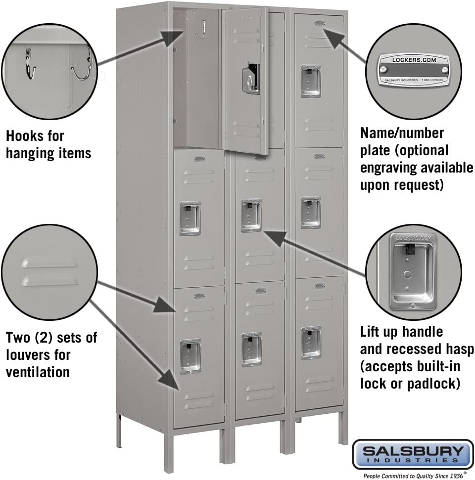 Amazon Com Salsbury Industries 63368gy U Triple Tier 36 Inch Wide 6 Feet High 18 Inch Deep Unassembled Standard Metal Locker Gray Home Improvement
