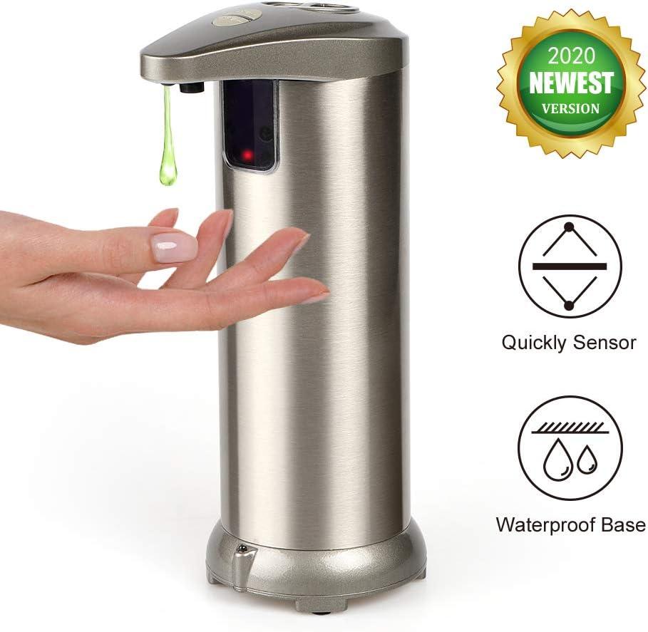 AHUIFT Dispensador Automático de Jabón con Acero Inoxidable, Sensor de Movimiento por Infrarrojos, Base Impermeable, Interruptor Ajustable, Baño Apropiado, Cocinas, Hotel, Restaurante: Amazon.es: Hogar
