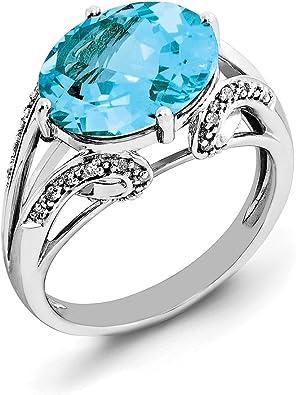 /& Light Swiss Blue Topaz Ring Jewelry Adviser Swiss Rings Sterling Silver Rhodium Diam