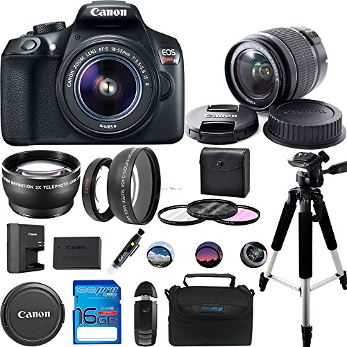 Canon EOS 1300D/Canon EOS Rebel T6 DSLR Camera w/ EF-S 18-55mm f/3.5-5.6 IS II Lens – Expo Accessories Bundle