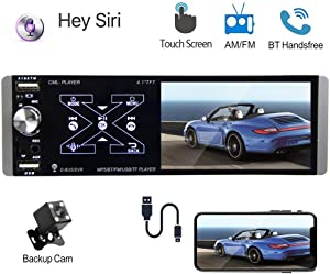 """Podofo Single Din Car Stereo 4.1"""" Capacitive Touchscreen Support SIRI Smart AI Voice Control, Bluetooth Car Audio Video Player, AM/FM/RDS Radio Receiver, MirrorLink, Dual USB Port, AUX In, Rear Mic In"""